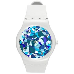 Blue Abstraction Round Plastic Sport Watch (m) by Valentinaart