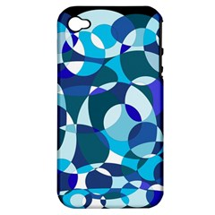 Blue Abstraction Apple Iphone 4/4s Hardshell Case (pc+silicone) by Valentinaart