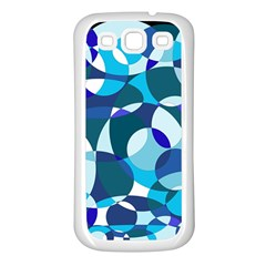 Blue Abstraction Samsung Galaxy S3 Back Case (white) by Valentinaart