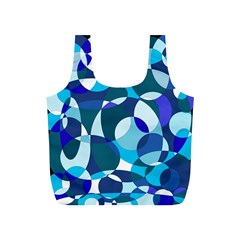 Blue Abstraction Full Print Recycle Bags (s)  by Valentinaart