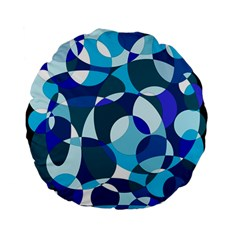 Blue Abstraction Standard 15  Premium Flano Round Cushions by Valentinaart