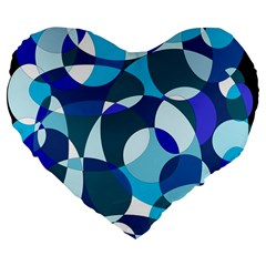 Blue Abstraction Large 19  Premium Flano Heart Shape Cushions by Valentinaart