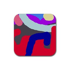 Crazy Abstraction Rubber Square Coaster (4 Pack)  by Valentinaart