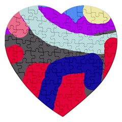 Crazy Abstraction Jigsaw Puzzle (heart) by Valentinaart