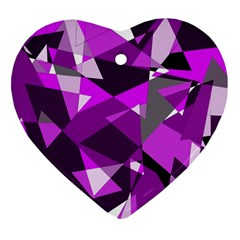 Purple Broken Glass Ornament (heart)  by Valentinaart