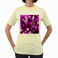 Purple Broken Glass Women s Yellow T Shirt by Valentinaart