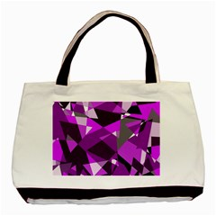 Purple Broken Glass Basic Tote Bag (two Sides) by Valentinaart