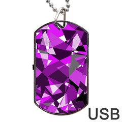Purple Broken Glass Dog Tag Usb Flash (two Sides)  by Valentinaart