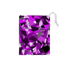 Purple Broken Glass Drawstring Pouches (small)  by Valentinaart