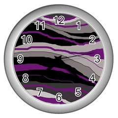 Purple And Gray Decorative Design Wall Clocks (silver)  by Valentinaart