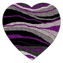 Purple And Gray Decorative Design Jigsaw Puzzle (heart) by Valentinaart