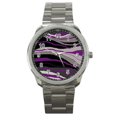 Purple And Gray Decorative Design Sport Metal Watch by Valentinaart