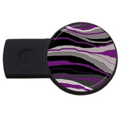 Purple And Gray Decorative Design Usb Flash Drive Round (4 Gb)  by Valentinaart