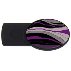 Purple And Gray Decorative Design Usb Flash Drive Oval (4 Gb)  by Valentinaart