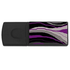 Purple And Gray Decorative Design Usb Flash Drive Rectangular (4 Gb)  by Valentinaart