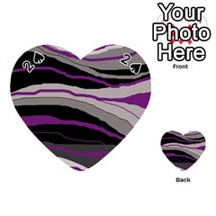 Purple And Gray Decorative Design Playing Cards 54 (heart)  by Valentinaart