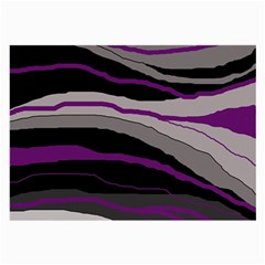 Purple And Gray Decorative Design Large Glasses Cloth (2 Side) by Valentinaart