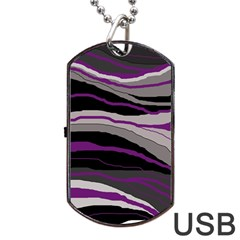 Purple And Gray Decorative Design Dog Tag Usb Flash (one Side) by Valentinaart