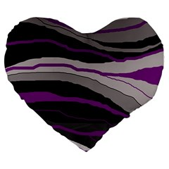 Purple And Gray Decorative Design Large 19  Premium Heart Shape Cushions by Valentinaart