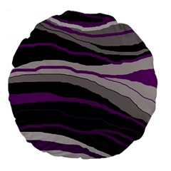 Purple And Gray Decorative Design Large 18  Premium Flano Round Cushions by Valentinaart