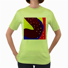Optimistic Abstraction Women s Green T Shirt by Valentinaart