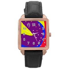 Optimistic Abstraction Rose Gold Leather Watch  by Valentinaart