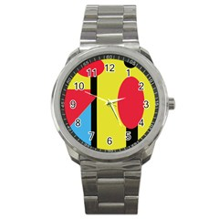 Abstract Landscape Sport Metal Watch by Valentinaart