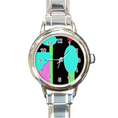 Abstract Landscape Round Italian Charm Watch by Valentinaart