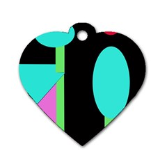 Abstract Landscape Dog Tag Heart (one Side) by Valentinaart