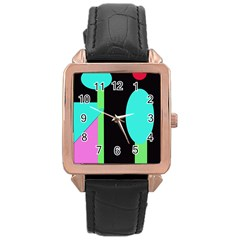 Abstract Landscape Rose Gold Leather Watch  by Valentinaart