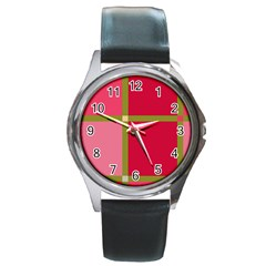 Red And Green Round Metal Watch by Valentinaart