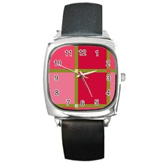 Red And Green Square Metal Watch by Valentinaart