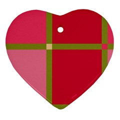 Red And Green Heart Ornament (2 Sides) by Valentinaart