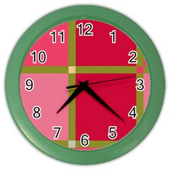 Red And Green Color Wall Clocks by Valentinaart