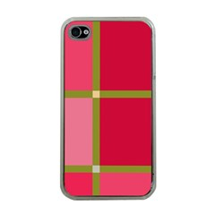 Red And Green Apple Iphone 4 Case (clear) by Valentinaart