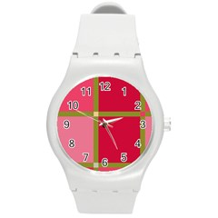 Red And Green Round Plastic Sport Watch (m) by Valentinaart