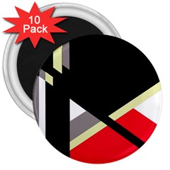 Red And Black Abstraction 3  Magnets (10 Pack)  by Valentinaart