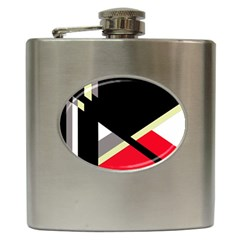 Red And Black Abstraction Hip Flask (6 Oz) by Valentinaart