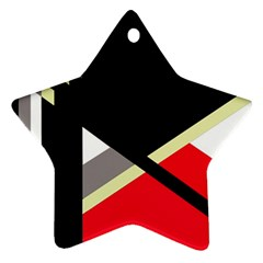 Red And Black Abstraction Star Ornament (two Sides)