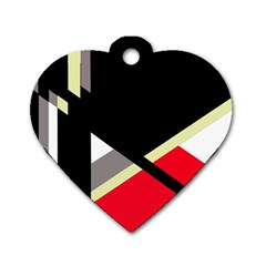 Red And Black Abstraction Dog Tag Heart (one Side) by Valentinaart