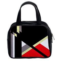 Red And Black Abstraction Classic Handbags (2 Sides) by Valentinaart