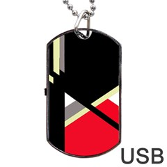 Red And Black Abstraction Dog Tag Usb Flash (one Side) by Valentinaart