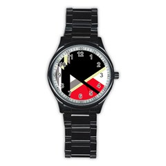 Red And Black Abstraction Stainless Steel Round Watch by Valentinaart