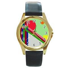 Decorative Abstraction Round Gold Metal Watch