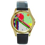 Decorative abstraction Round Gold Metal Watch Front