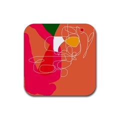 Orange Abstraction Rubber Coaster (square)