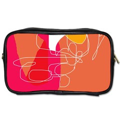 Orange Abstraction Toiletries Bags by Valentinaart