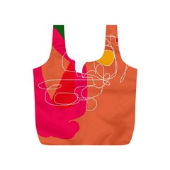 Orange Abstraction Full Print Recycle Bags (s)  by Valentinaart