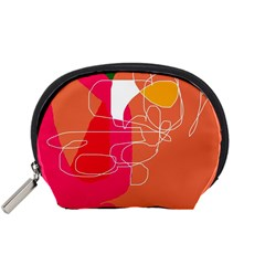 Orange Abstraction Accessory Pouches (small)  by Valentinaart