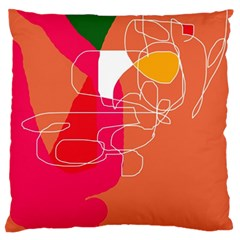 Orange Abstraction Large Flano Cushion Case (one Side) by Valentinaart